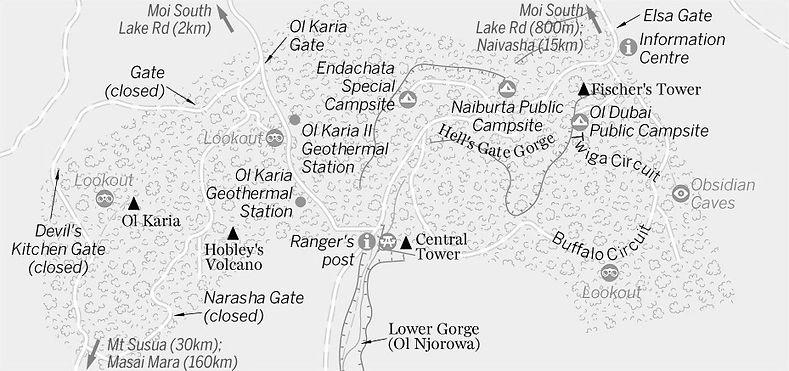 Mapa Hell´s Gate