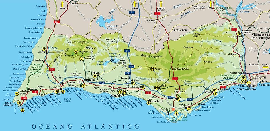 Mapa Algarve y Costa Vicentina