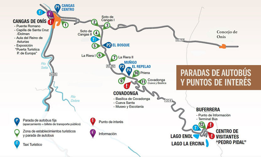 Mapa acceso Lagos de Covadonga