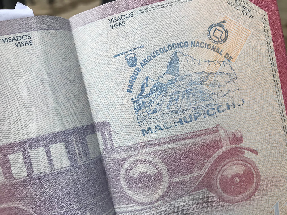Sello de Machu Picchu en el pasaporte