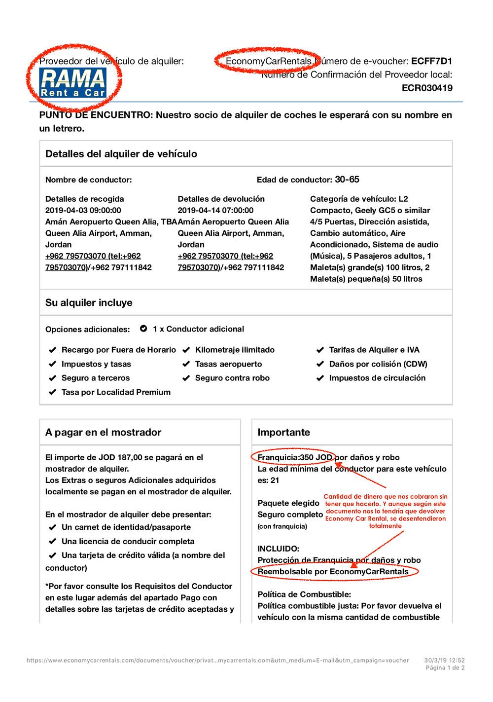 Documento del alquiler del vehículo