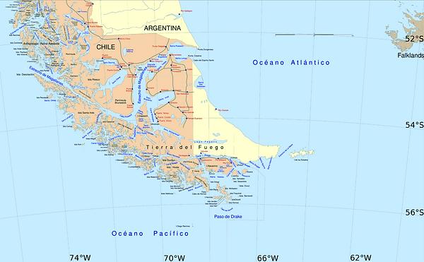 Mapa Tierra del Fuego
