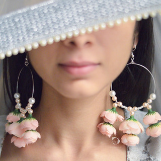 blush pink dual-layer floral hoops