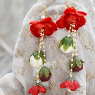 multi-shade cascading droplet earrings