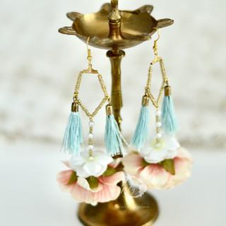 tasseled penta drop earrings