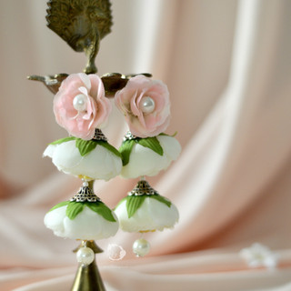 ivory + pink waterfall earrings
