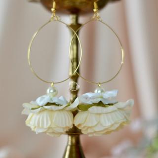 minimalist ivory hoops