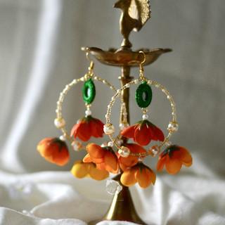 rain drop mirrored green + sunrise earrings