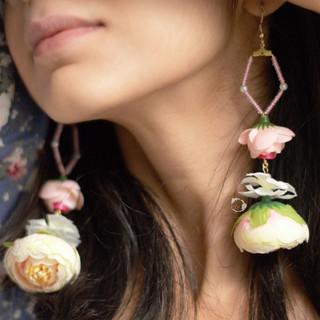 blush penta waterfall earrings