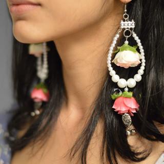 rain drop + pearl earrings