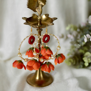 amber mirrored rain drop earrings