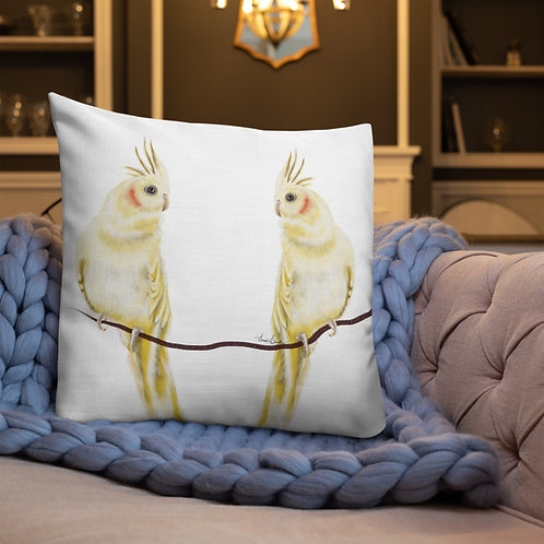 Linamal Two sides design-Cockatiel and love birds - Premium Pillow