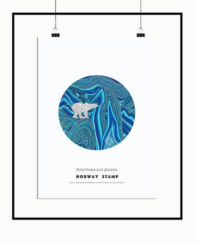 Polar bears and glaciers poster