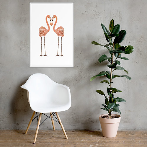 Linamal Flamingo LOVE - Framed poster