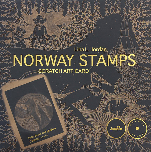 NORWAY STAMPS SCRATCH ART CARD-Polar bears and glaciers