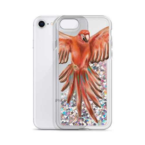 Linamal Red Macaw - Liquid Glitter Phone Case