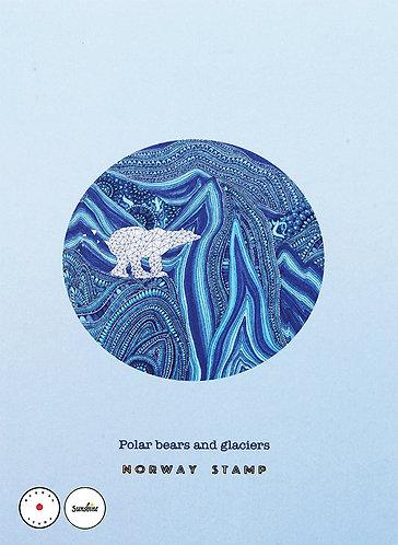 """Polar bears and glaciers"" post card"