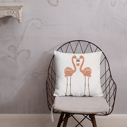 Linamal Two Sides Design- Flamingo LOVE and Cockatiel - Premium Pillow