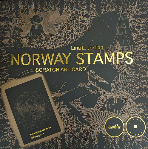 NORWAY STAMPS SCRATCH ART CARD-Norwegian reindeer