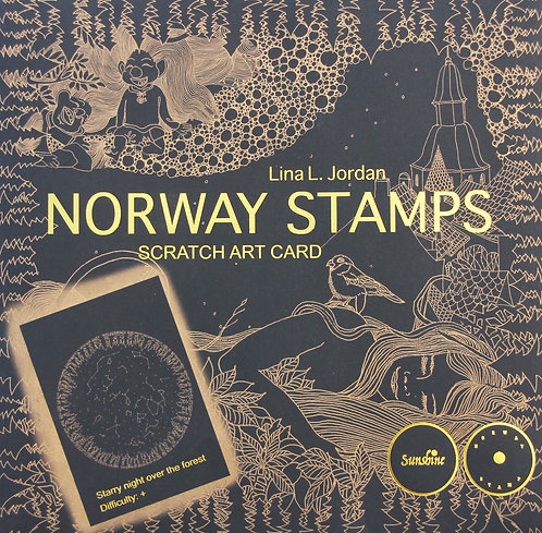 NORWAY STAMPS SCRATCH ART CARD-Starry night over the forest