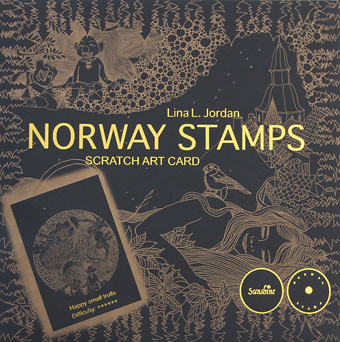 NORWAY STAMPS SCRATCH ART CARD-Happy small trolls