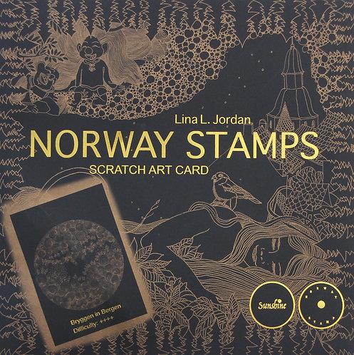 NORWAY STAMPS SCRATCH ART CARD- Bryggen in Bergen