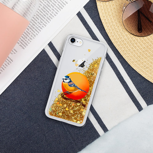 Linamal Blue Tit- Liquid Glitter Phone Case
