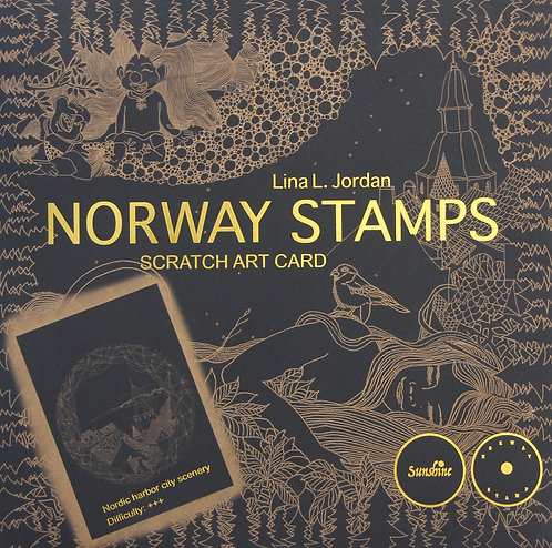 NORWAY STAMPS SCRATCH ART CARD-Nordic harbor city scenery