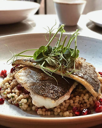 Sea Bream, couscous, olive and caper but
