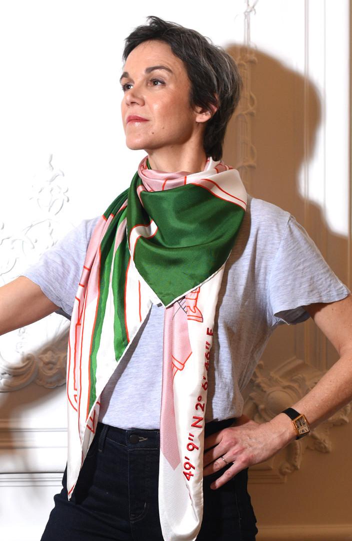 Kingsize 100% silk scarf_Hameau de la Reine by Kilometre Paris