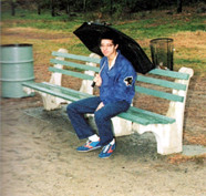 Branden Weaver is not singing in the rain but is staying dry at Van Cortlandt Park