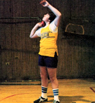 Jesse House prepares to throw the shot (class of 1983)