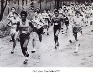 Ramon Rosa ('82), Gene Jaromsky ('81), Austin Fenner  with headband ('81), Chris Breyfogle ('80) train and race as tight knit unit.