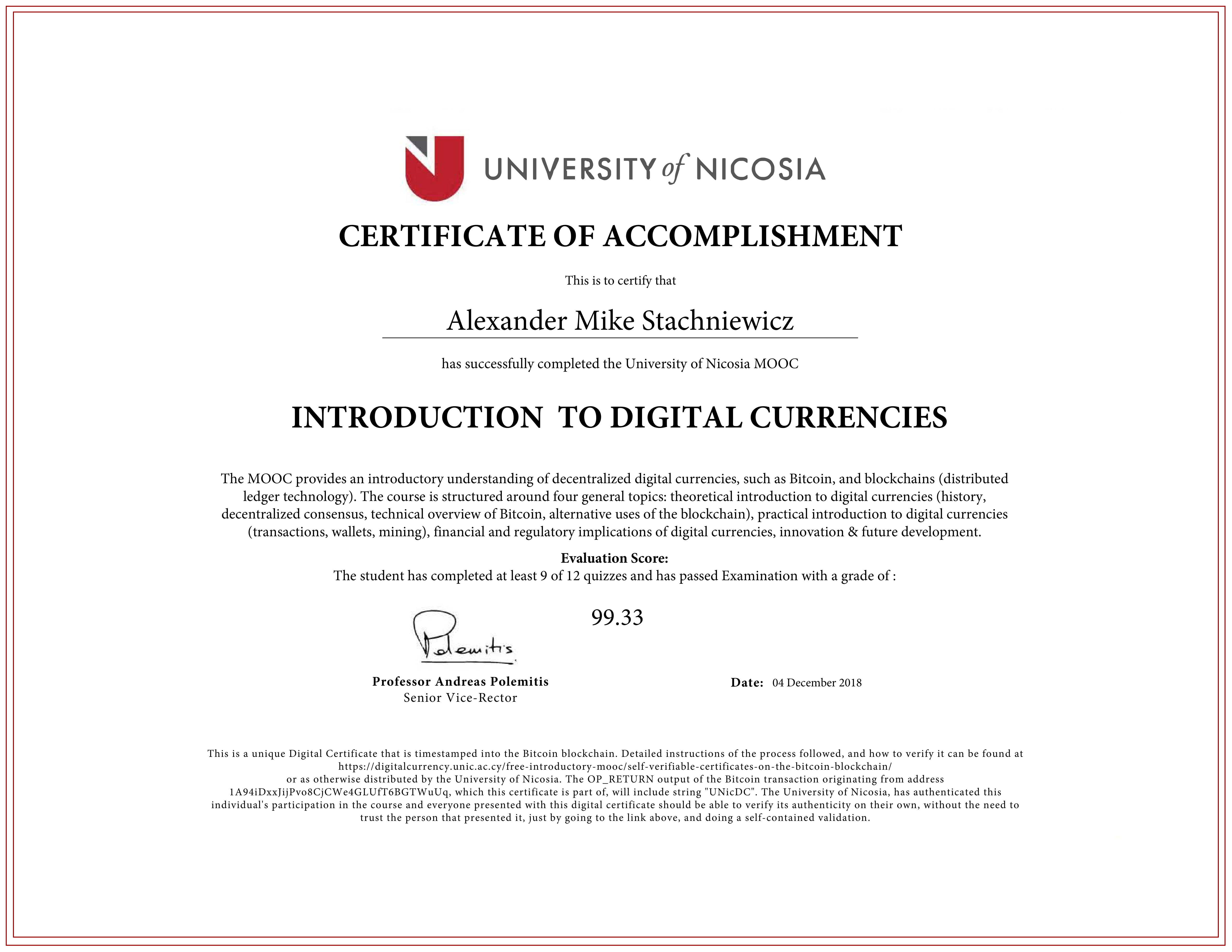 Blockchained Certificate
