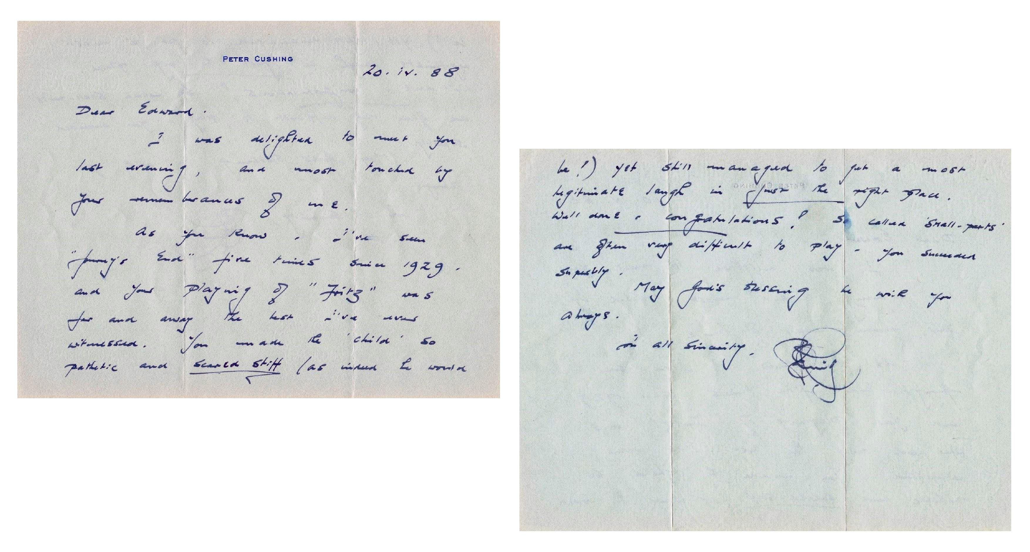 Letter from Peter Cushing