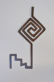 interior decor, rustic metal wall art based on jornada mogollon culture petroglyph