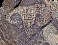 petroglyph found in jornada mogollol culture in new mixico, looks like big horn sheep