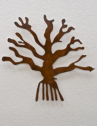 Metal wall art based on geoglyph drawing found in Peru and titled Nazca Tree