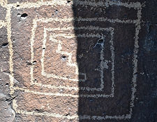 petroglyph in new mexico, looks like maze with stairs