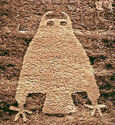 utah archaeology, looks like owl petroglyph carved in rock