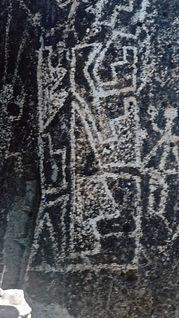 jornada mogollon culture in new mexico petroglyphs, series of triangular shapes