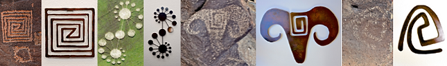 a collage of petroglyphs next to their metal art renditions