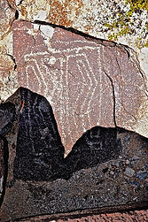 prehistoric petroglyph art on a rock in new mexico
