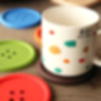 Funny Button Style Household Supplies Round Cup Pad Mat Silicone Coasters(Blue)