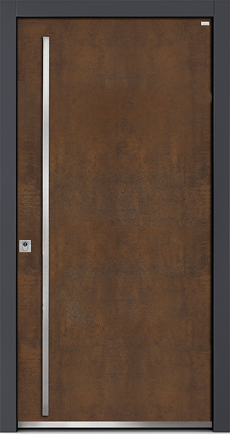 Weßler Haustür Kontur-Holz-Alu-Keramik HAL450 Art Cortenstahl