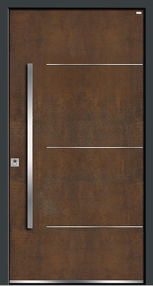 Weßler Haustür Kontur-Holz-Alu-Keramik HAL451 Art Corten-Stahl