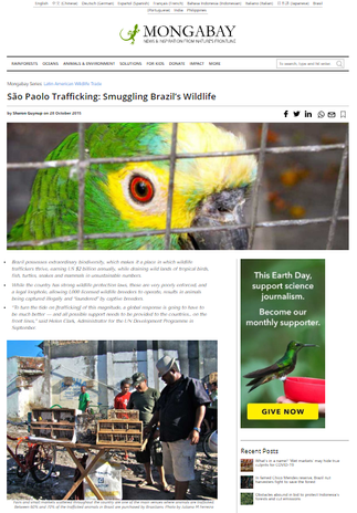"""ARTICLE """"THE TRAFFICKING OF SÃO PAULO: THE SMUGGLING OF BRAZIL'S WILDLIFE"""""""