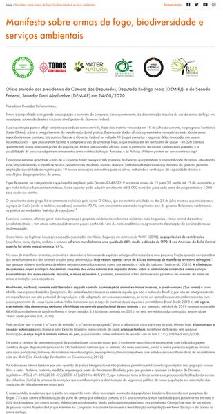 MANIFESTO SOBRE ARMAS DE FOGO, BIODIVERSIDADE E SERVIÇOS AMBIENTAIS
