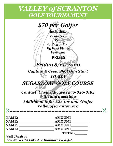 2020 Valley of Scranton Golf Tournament.