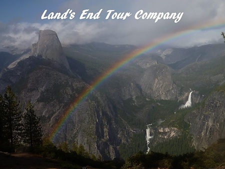 Rainbow over Half Dome, Vernal and Nevada Falls from Washburn Point near Glacier Point. Book a private yosemite tour to Glacier Point at www.LandsEndTourCompany.com/Yosemite